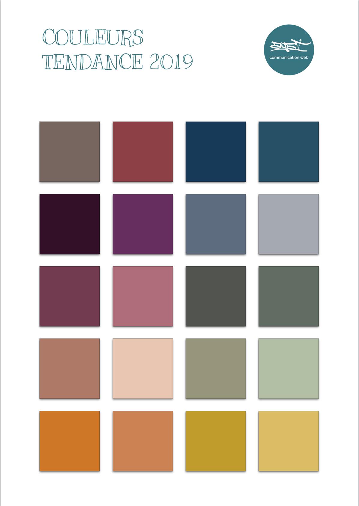 Les couleurs tendance 2019